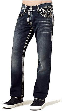 True Religion Men's Straight Leg Relaxed Fit Natural Stitch