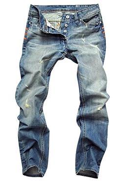 Jofemuho Mens Straight-Leg Ripped Whitening Zip up Casual Di