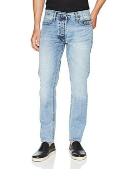 Calvin Klein Men's Straight, jalapeno blue, 34W x 32L