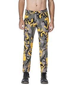 Idopy Men`s Street Style Camouflage Joggers Stretchy Biker C