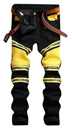 OKilr Pjik Men's Black Yellow Stretch Biker Moto Straight Sl