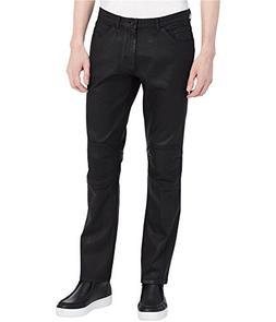 Calvin Klein Mens Stretch Moto Skinny Fit Jeans Black 34x32