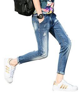 Plaid&Plain Men's Stretch Skinny Jeans Distressed Jeans Ripp