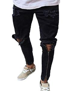 XARAZA Men's Stretchy Ripped Skinny Biker Jeans Taped Slim F