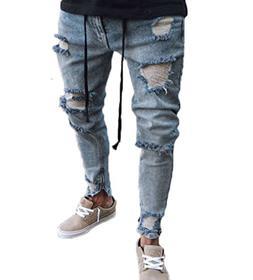 XARAZA Men's Stretchy Ripped Skinny Biker Jeans Taped Slim F