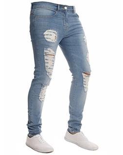 XARAZA Men's Stretchy Ripped Skinny Biker Jeans Slim Fit Den