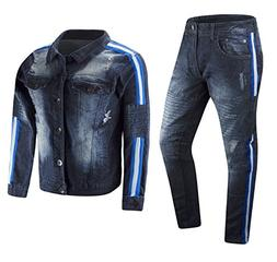 New Men Stripe Mens Denim Set Stretch Ripped Side Stripe Ski