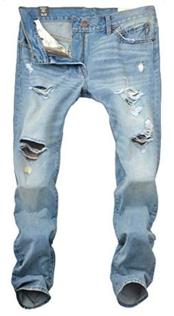 Men's Summer Ripped Distressed Washed Denim Jeans Light Blue