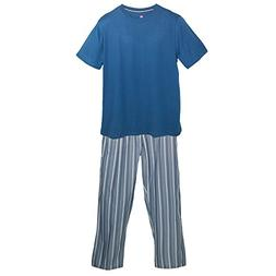 Hanes Men's Tee and Woven Sleep Pant Pajama Set, 2XL, Denim