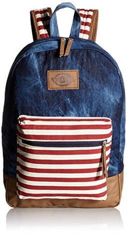 Dickies The Hudson Backpack, Denim/Scarlet Stripe, One Size