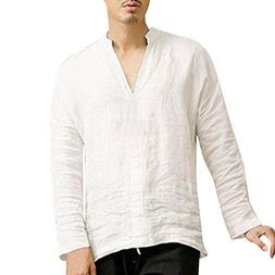 Palarn Men Tops, Men's Baggy Linen Long Sleeve Summer Cotton
