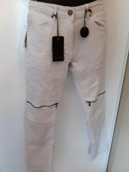Trendy Men Retro Stretchy White Distressed Pants Knee Zipper