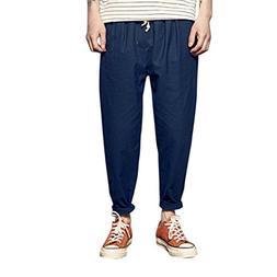 AMSKY❤ Men Trouser,Summer Men Fashion Solid Linen Elastic