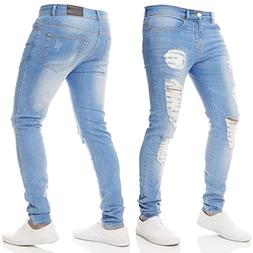 WUAI Clearance Mens Casual Motorcycle Black Ripped Skinny Jeans Slim Fit Denim Pencil Pants