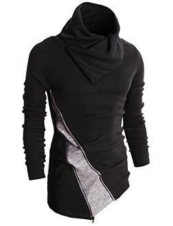H2H Mens Fashion Turtleneck Slim Fit Pullover Sweater Obliqu