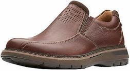CLARKS Mens Un Ramble Step Slip-On, Mahogany Leather, Size 9