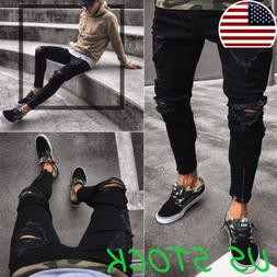 US Men Skinny Jeans Black Slim Fit Casual Pants Stretchy Rip