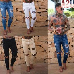 US Slim Destroyed Stretchy Ripped Skinny Biker Jeans Men Tap