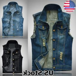 US Vintage Men Denim Vest Sleeveless Washed Jeans Waistcoat