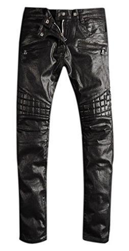OKilr Pjik Men's Vintage Black Waxed Skinny Fit Biker Moto W