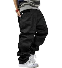 QBO Men's Vintage Graffiti Hip Hop Style Baggy Jeans Denim-3