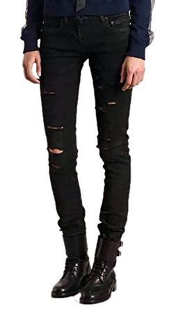 OKilr Pjik Men's Vintage Black Skinny Fit Ripped Distressed