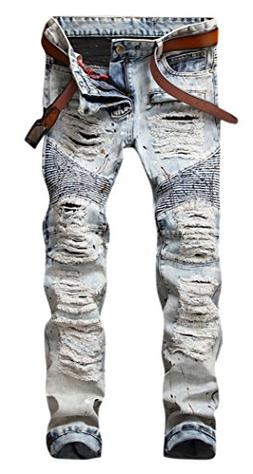 Men's Vintage Light Blue Straight Fit Distressed Ripped Moto