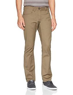 Volcom Men's Vorta 5 Pocket Slub Slim Fit Pant, Mushroom, 33