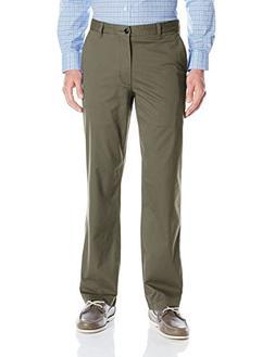 Dockers Men's Washed Khaki Straight-Fit Flat-Front Pant, Oli