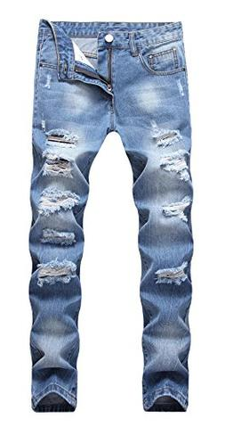 OKilr Pjik Men's Washed Light Blue Stretch Distressed Slim F