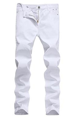 Men's White Skinny Slim Fit Stretch Straight Leg Fashion Jea