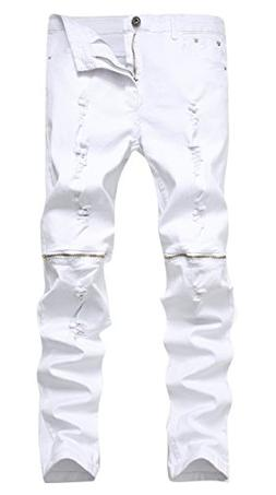 Qazel Vorrlon Men's White Zipper Ripped Distressed Destroyed