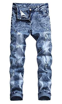 OKilr Pjik Men's Winter Warm Blue Snow Washed Stretch Straig