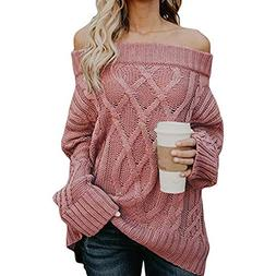 POHOK Women's Sexy Long Sleeve Sweaters Off Shoulder Loose C