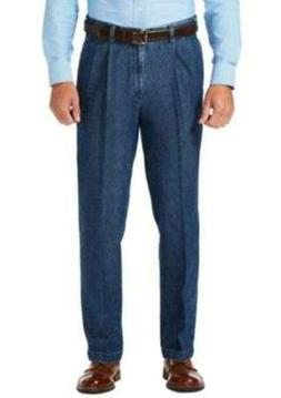 Haggar Men's Work To Weekend No Iron Denim Pleat Front Pant