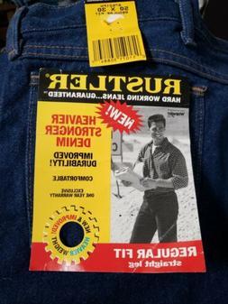 Rustler Wrangler Men's Regular Fit Straight Leg Dark Blue De