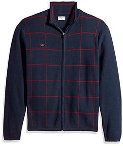 Dockers Men's Full Zip Cotton Milano Windowpane Sweater, Pem